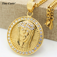 New Mens 24K Gold Plated Iced Out Medallion Style Jesus Christ Head Charm Pendant Hip Hop