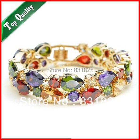 Livraison gratuite Bracelet en cristal de luxe Champagne bijoux de mode en gros