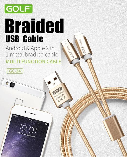 Kabel USB 2w1 ładowarka 1m Android iPhone 5 5s 6 6s 7