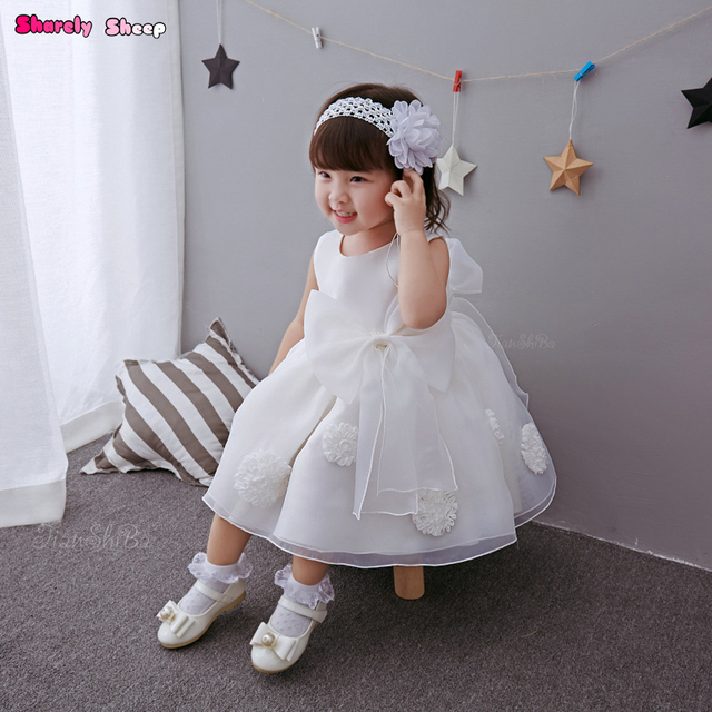 e13abb559c9d1 US $28.89 |Newborn Baby Girl Birthday Party Princess White Lace Dresses  Frock Infant Girl Organza Wedding Flower Bow Dress Clothes Outfit -in  Dresses ...