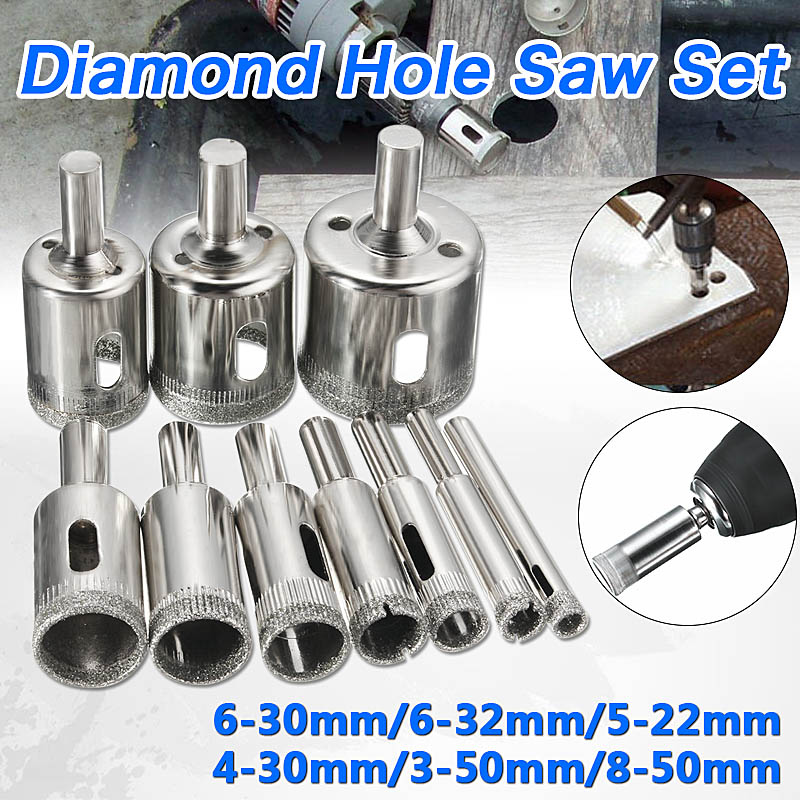 10pcs/Set Diamond Holesaw 3-50mm Drill Bit Set Tile Ceramic Porcelain Marble Glass Top Quality 15pcs set 6mm 50mm diamond holesaw drill bit tool for ceramic porcelain glass marble 6 8 10 12 14 16 18 20 22 25 26 28 30 40 50m