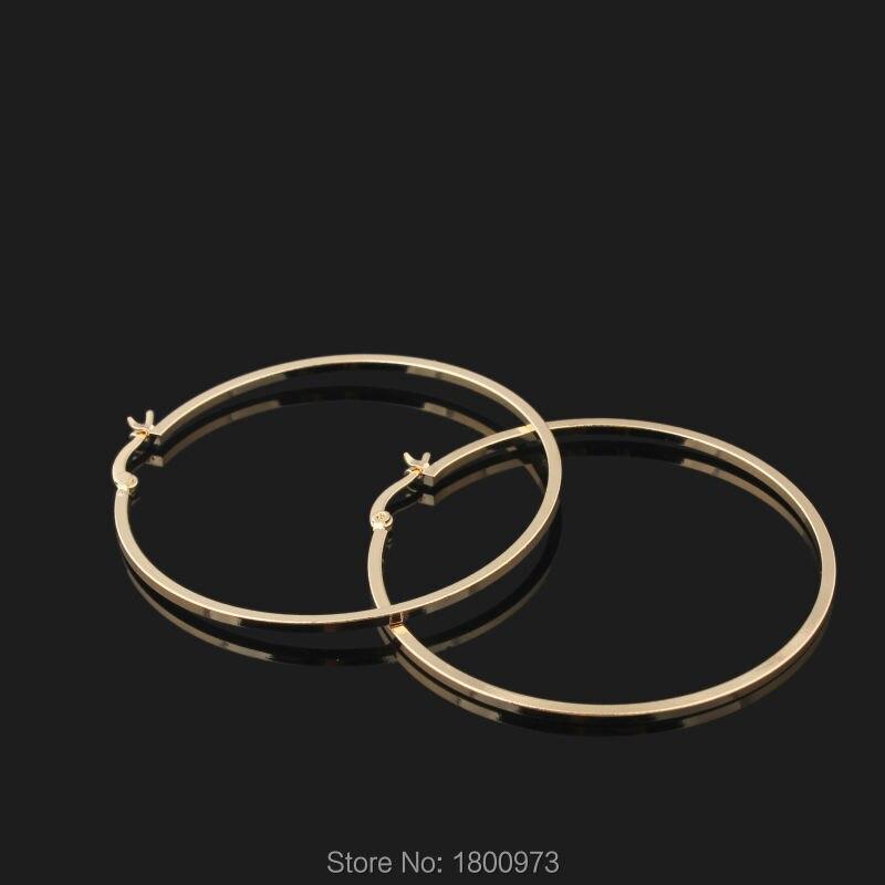 49b32f42cf75 Comercio al por mayor Rosa de Color de Oro Gran Círculo Pendientes Del Aro  Liso Para Las Mujeres de Joyería de Moda