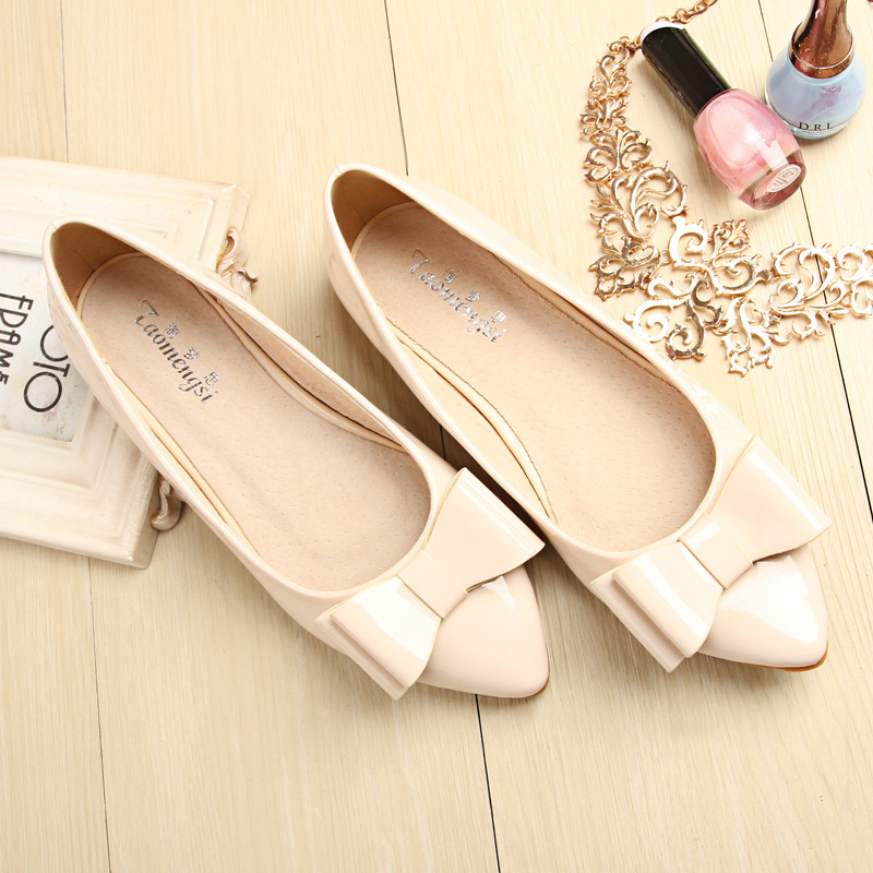 Taomengsi Korean Version of The Pointed Toe Slip-On Flat Shoes Pointed Shallow Mouth  Female Scoop Shoes New Single Shoes 16cm fine with high heels female korean version of the sexy thin bow shoes round head shallow mouth shop shoes