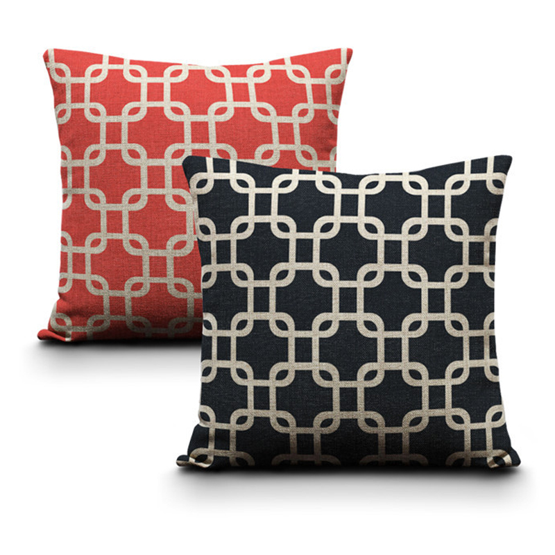 coral pillow coverred u0026 navy bluecotton linen cushion covers decorative pillow