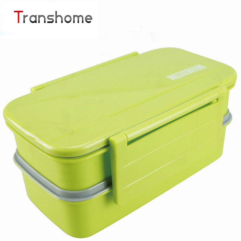 TRANSHOME Candy Double Tier Bento Lunch Boxes With Spoon Fork Microwave Oven lunch Box set lunch