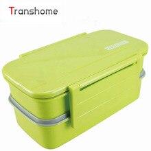 TRANSHOME Candy Doppelstöckige Bento Lunch-boxen Mit Löffel und Gabel Mikrowelle ofen lunchbox lunchbox für kinder lunchbox set