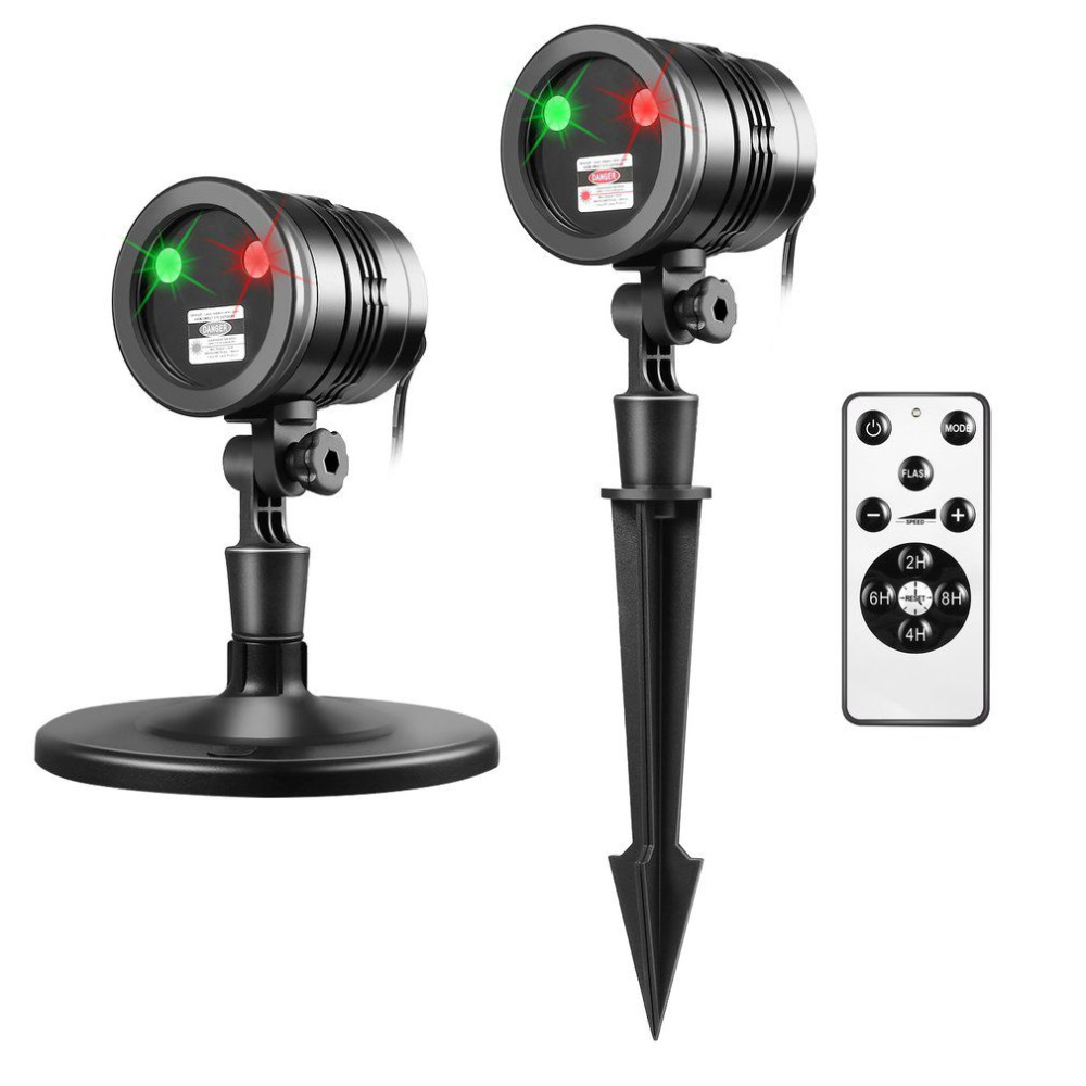 Waterproof Christmas Projection Lights With Red & Green Projector Laser With Remote Control Black/Silver US/EU/UK/JP Plug