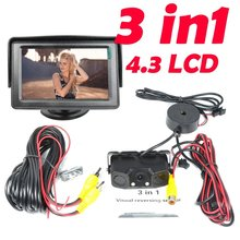 Car Parking System  4.3″ TFT LCD Car Monitor +3 in 1 Sound Alarm CCD HD Car Reverse Rear View Camera Video Parking Radar System