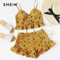 SHEIN Ruffle Trim Lace Up Front Crop Cami And Shorts Set 2018 Summer Women Two Piece