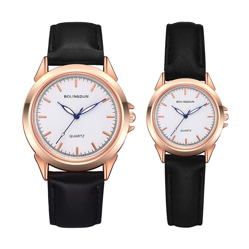 Couple Watches Simple Fashion Unisex Watch Leather Strap Line Analog Quartz Ladies Wristwatches Mujer Lover's Commemorate Gift