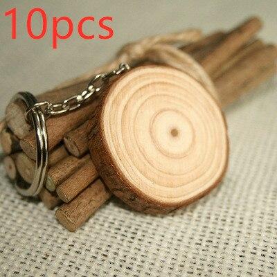 10Pcs/set Wooden Keychains Retro Vintage Key Chains Diy Car Rings Bag Charms