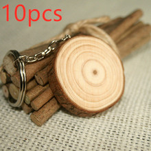 10Pcs/set Wooden Keychains Retro Vintage Key Chains Diy Car Rings Bag Charms