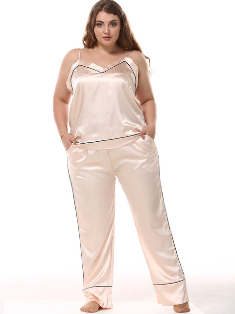 Sexy Pyjamas Women Satin   Pajamas     Sets   Silk Home Wear 2 Pcs Camisole + Long Pants Sleepwear Suit Plus Size Pijama Mujer