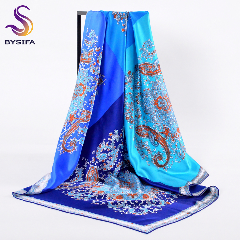 BYSIFA Winter Blue Silk   Scarf   Shawl New 100% Silk Crepe Satin Silk Large Sqaure   Scarves     Wraps   Spring Autumn Women Elegant Cape