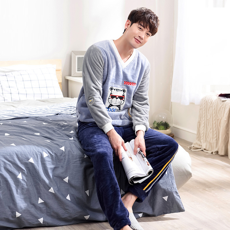 Men Autumn And Winter Coral Fleece Thick Flannel Long Sleeve Trousers Cute Cartoon Pullover Fluffy Pajama Sets Mens Pajamas
