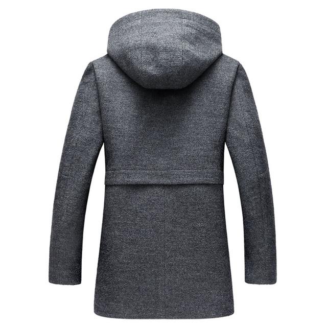 Letskeep Hooded Parka Men Coats Winter Zipper Long trench coat  & Blends  Peacoat Mens Business Woolen Long Overcoats MA436