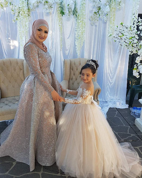 Ivory sheer lace long sleeves sweetheart Flower Girl Dresses junior  bridesmaid ball gown dress for wedding and party with train -  aliexpress.com - imall.com 507face1f7d0
