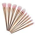 10 pcs Pincel de Maquiagem Conjunto de Alta Qualidade Punho do Ouro Rosa de Cabelo Profissional Fundação Sombra Em Pó Delineador maquiagem Jogo de Escova