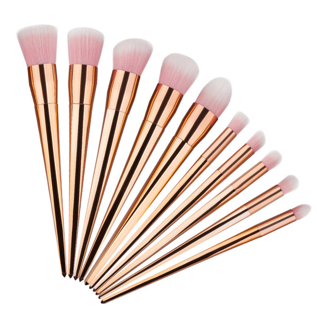 10 unids de Alta Calidad Pincel de Maquillaje Mango de Oro Rosa Pelo Profesional Fundación Polvo de Sombra de Ojos Delineador de ojos maquillaje Cepillo Conjunto