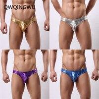 4PCS Briefs Sexy Men Underwear Stretch Slim Imitation Leather Pants Gold Silver Pouch Briefs Underwear Shorts Men Gay Underwear