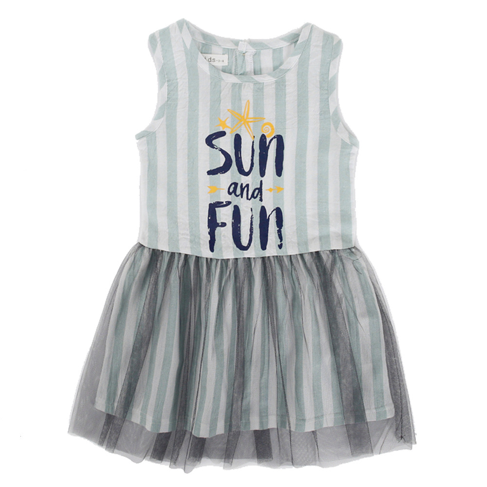 Baby Girls Dress Summer Costume for Kids Clothing 2018 Mesh Children Party  Dresses Striped Girls Clothes 3-10T free shipping worldwide b099ad179832