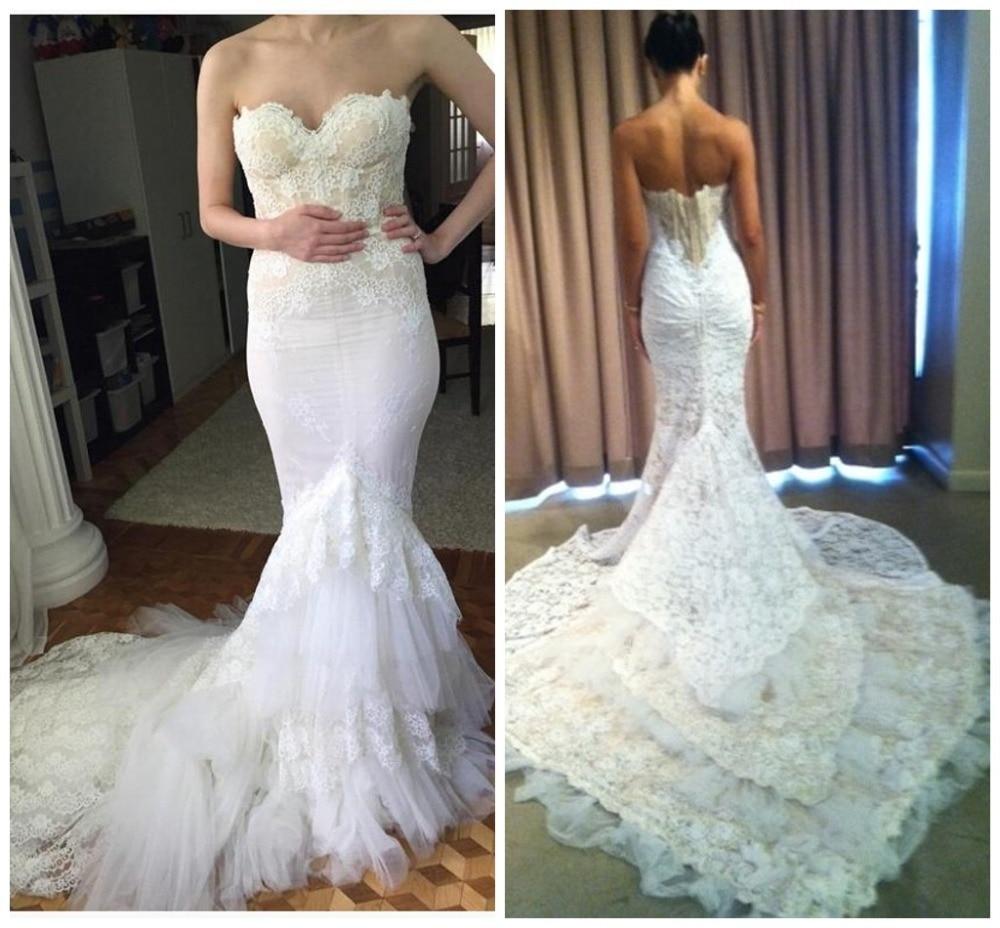Sweetheart Lace Wedding Dress: Inbal Dror Robe De Mariage Court Train Mermaid Sweetheart