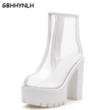 Купить с кэшбэком GBHHYNLH Female College PVC Women High Heels Boots Woman Shoes Jelly Boot Spring Transparent Boots Party Shoes fall boots LJA452