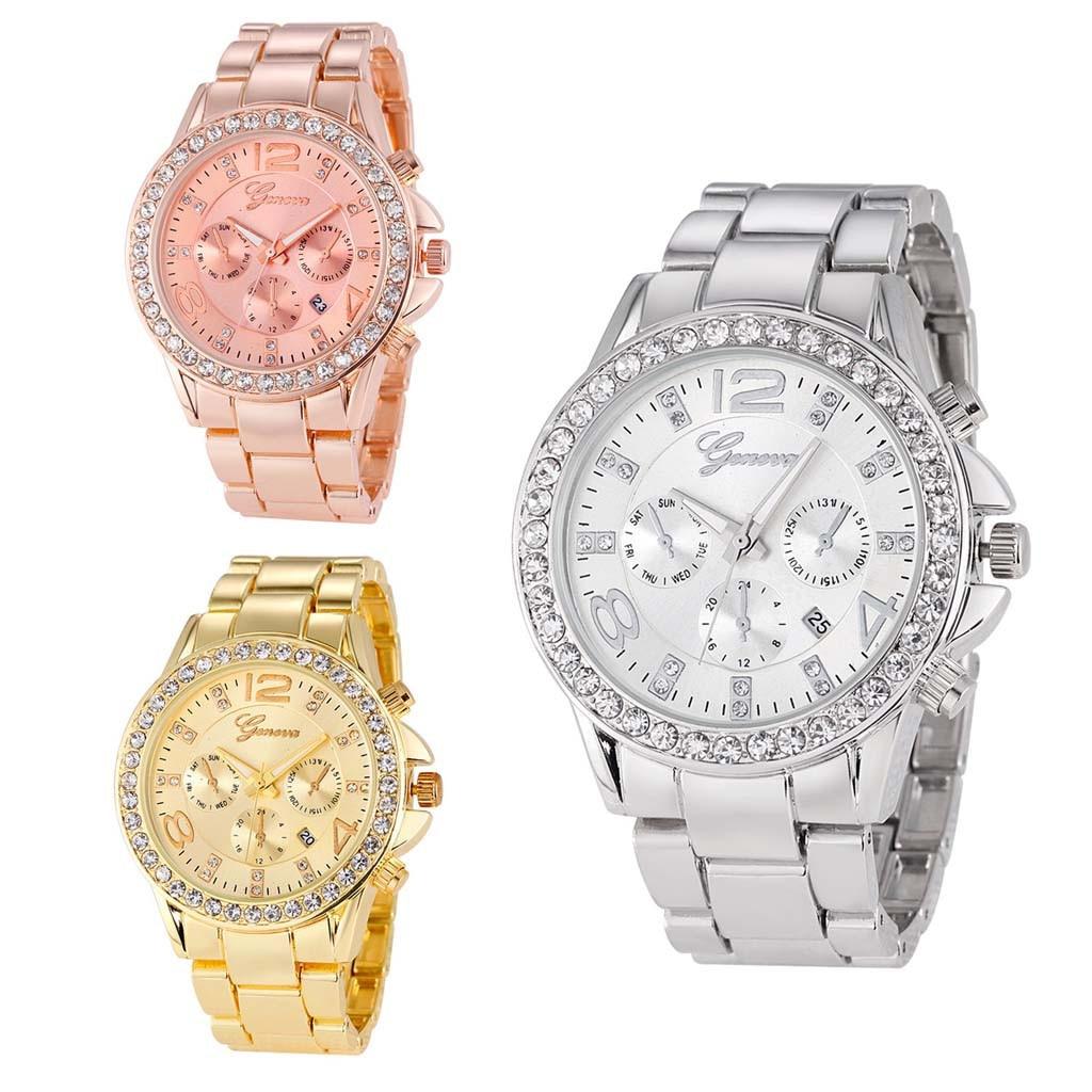 Women Watches Multicolor Calendar Business Diamond Studded Three Eyes Set Quartz ladies hand watch woman watch 2019 reloj mujer