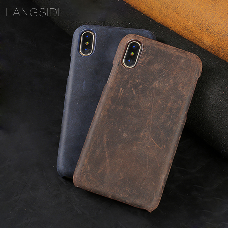 Phone Case For iPhone X case Retro Cowhide Genuine Leather back cover For iPhone SE 5 5S 6 6S 7 8 Plus X phone shell