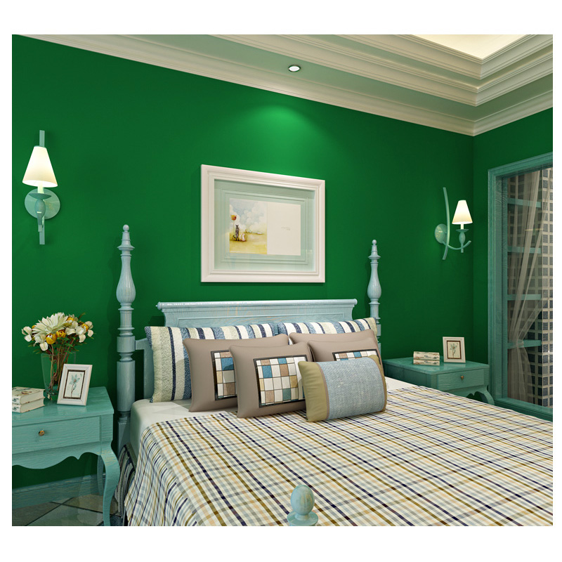 beibehang papel de parede  American country  passion plain pure green non-woven bedroom living room TV backdrop wallpaper