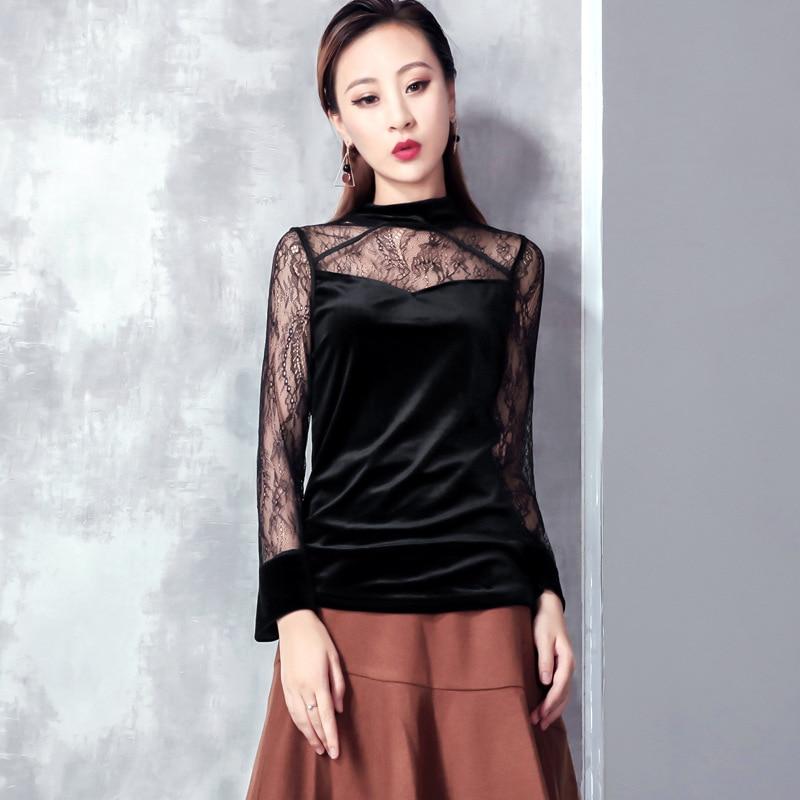 autumn winter Women's Clothing Blouses lace patchwork velvet shirts perspective black tops blusas mujer de moda 2018 new