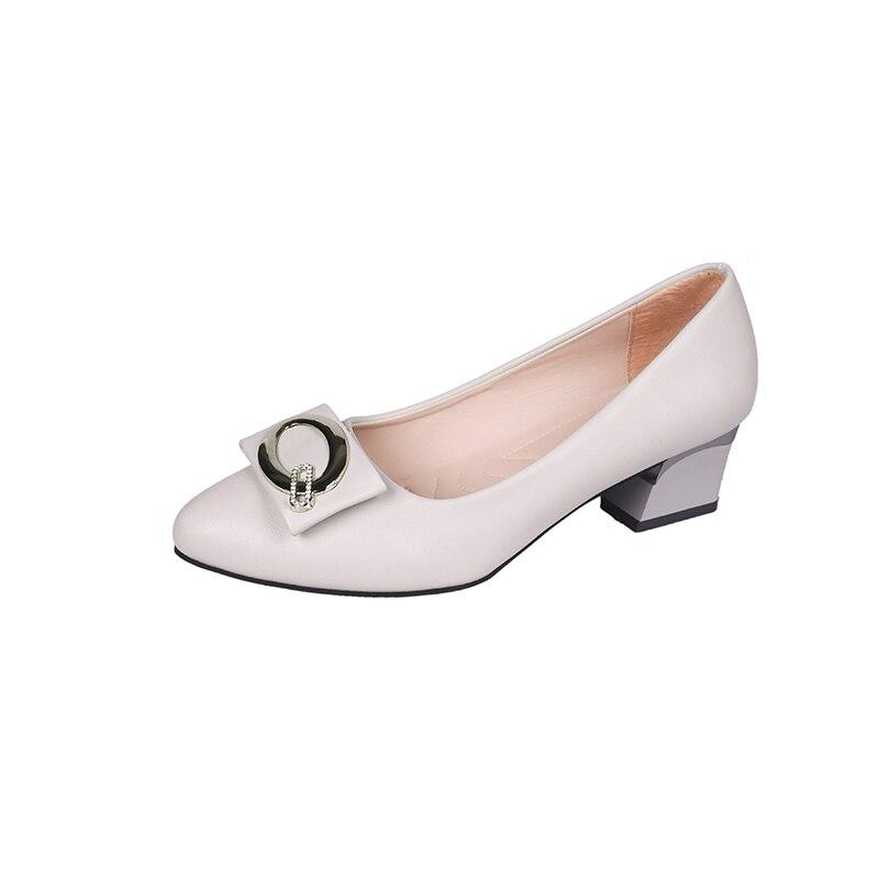 La Slip Metal 2019 Dedo Pie Tacones De Primavera negro Pu en Tacón Moda Mujer Alto Zapatos Dama Verano Beige Del Botón Cuero Cuadrados Punta qqOpzYn