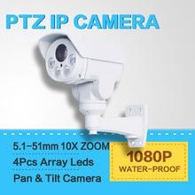 Modelo CCTV 2.0MP Cámara Bullet IP PTZ 10X Zoom Óptico Auto Iris Cámara IP66 Resistente A La Intemperie Anbarella S2L, Visión Nocturna IR 80 M