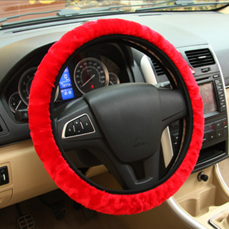 Soft Plush Car DIY Steering Wheel Cover Braid On The Steering-wheel Winter Warm Covers Car Styling Interior  Accessories(China)