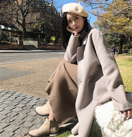 2018 Autumn Winter New Korean Fancy Cloak In The Long Section Of The Knee Cashmere Double