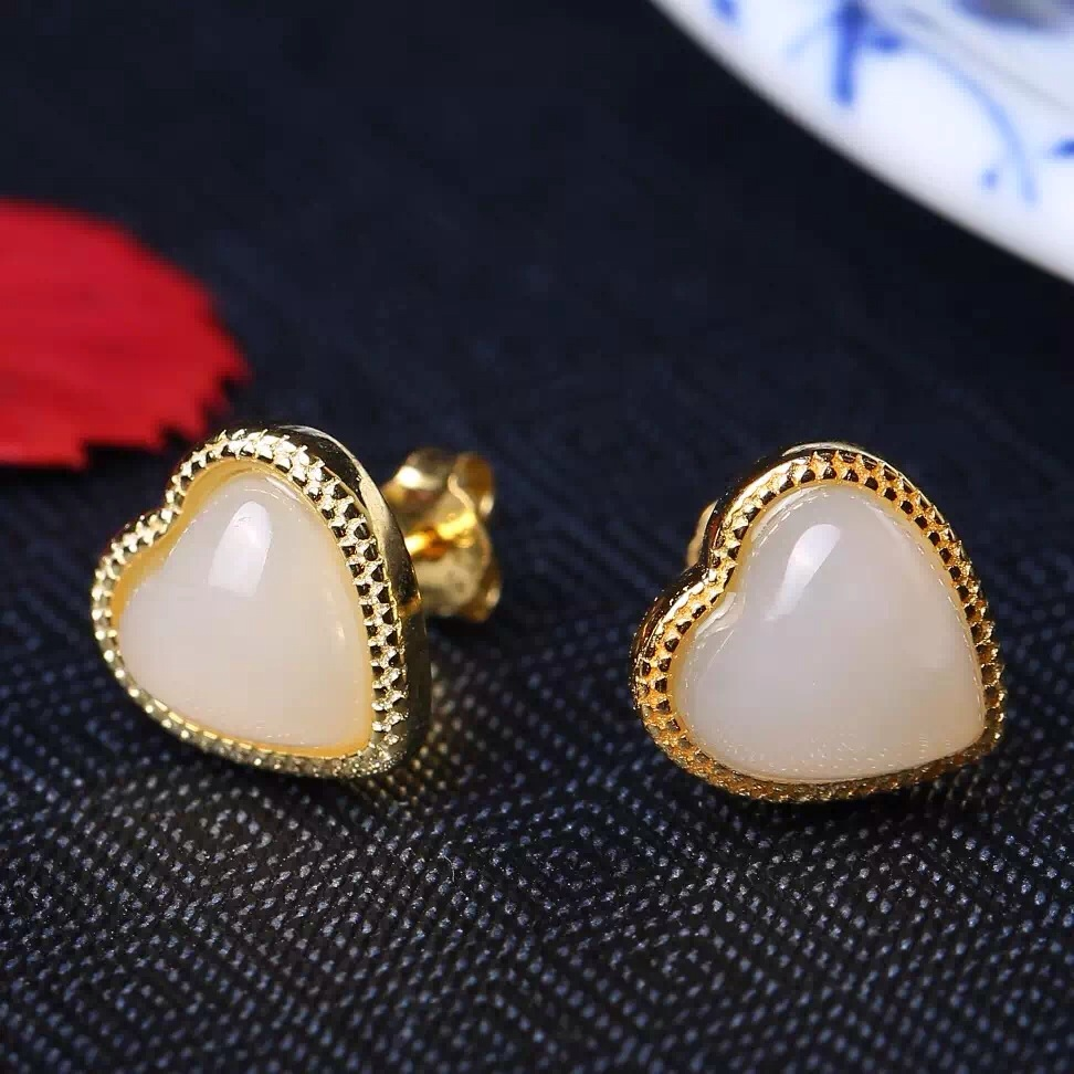 Natural and nephrite yu classic heart-shaped earrings, classi S925  Earrings2054#