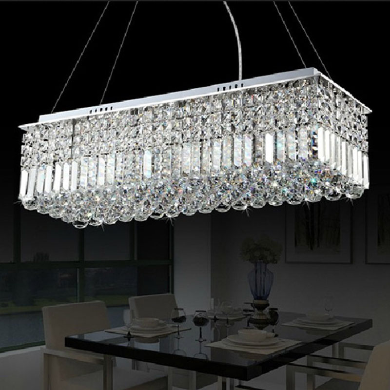 Long Size Rectangle Crystal Pendant Light Fitting Crystal Chandelier  Ceiling Suspension Lamp For Dining Room, Bedroom, Meetin In Ceiling Lights  From Lights ...