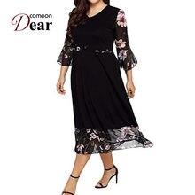 b0da4558f995 Comeondear Women Dress Autumn Three Quarter Sleeve Flowy Floral Dress Black  V Neck Loose Casual Midi Dress Plus Size RA80702