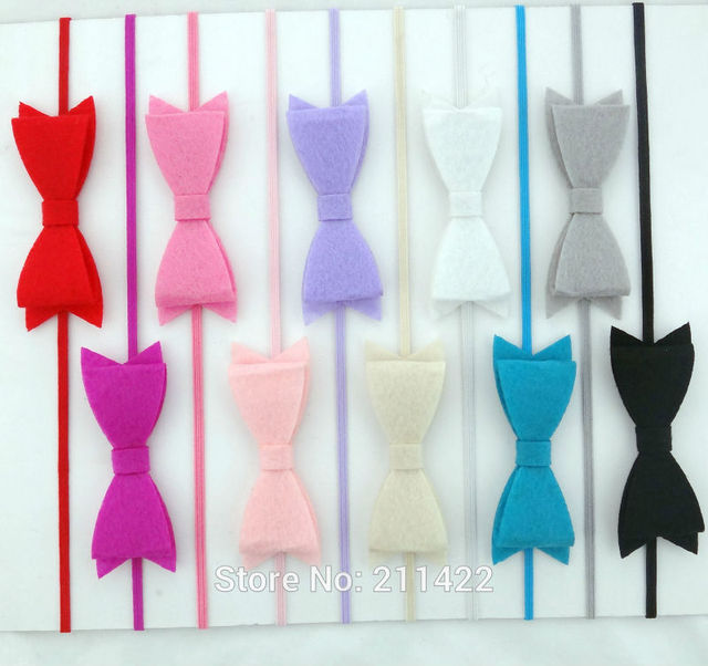 """10colors 100pcs/lot 3"""" Felt Bow Skinny Elastic Headband for baby and children kids hair accessories"""