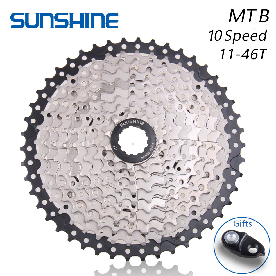 SUNSHINE <font><b>11</b></font>-<font><b>46T</b></font> 10 Speed MTB Mountain Bike Bicycle <font><b>Cassette</b></font> Flywheel Sprockets Compatible with SHIMANO m590 m6000 m610 m780 X9 image