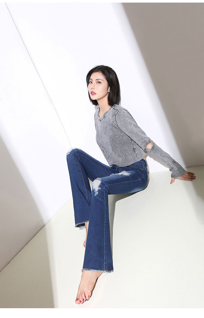 2019 Spring Summer Lady Denim Flared Jeans Ripped Hole Casual High Waist Women Pants Skinny Fit Slim Full Length Up Hip Sexy
