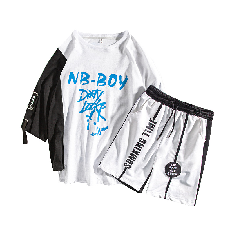 M-XXXL 2019 two piece set top and pants casual mens short sets summer clothes for men tracksuit 2 outfit