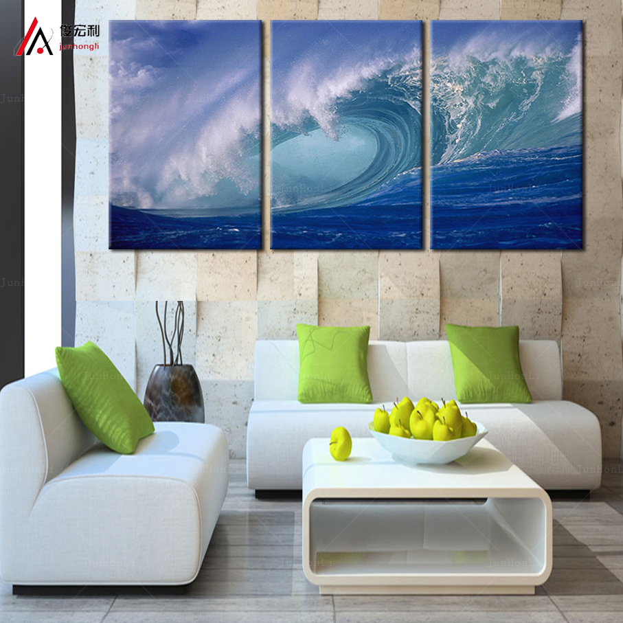 3 Plane Abstract Sea Wave Modern Home Decor Wall Art Canvas Blue Ocean Wall  Picture Print