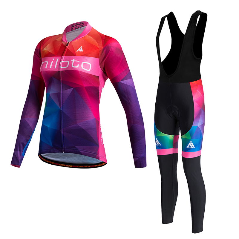 Miloto Women Cycling Jersey long Bicycle Cycling Clothing Bike Wear Shirt Maillot Ropa Ciclismo Bib Pants Breathable #562 basecamp cycling jersey long sleeves sets spring bike wear breathable bicycle clothing riding outdoor sports sponge 3d padded