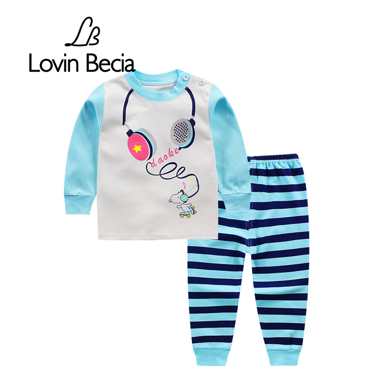 LovinBecia Autumn Children Cotton clothing sets Long-sleeved Trousers Sweatshirts Baby Printing Clothes Boys Girls Sport Suit