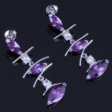 Charismatic Long Marquise Purple Cubic Zirconia White CZ 925 Sterling Silver Drop Dangle Earrings For Women V0791
