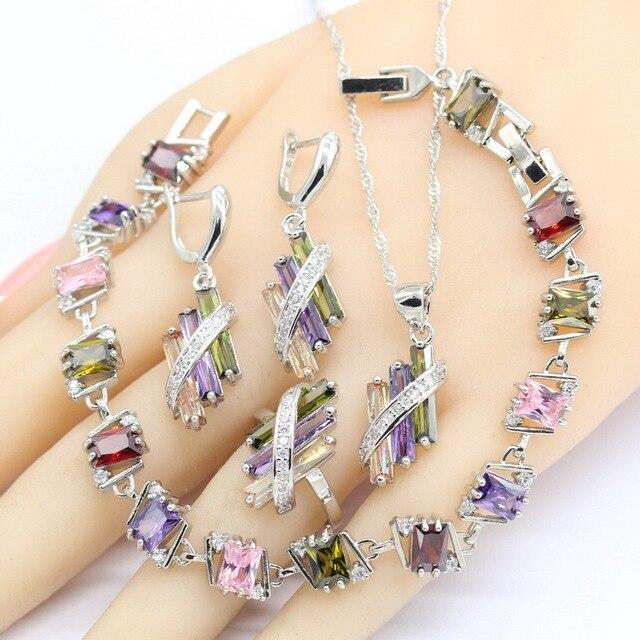 925 conjuntos de jóias de noiva de prata para o casamento feminino multi cor zircão brincos pulseira colar pingente caixa presente