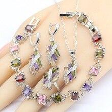 Conjunto de joyería nupcial de plata 925 para mujer, circonio de boda, pendientes, pulsera, collar, caja de regalo de colgante multicolor
