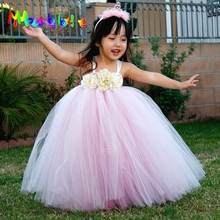 White and Pink Mixed Flower Girl Tutu Dress Birthday Wedding Pagent Princess Baby Long Dress Handmade Teenager Dress Photo Props