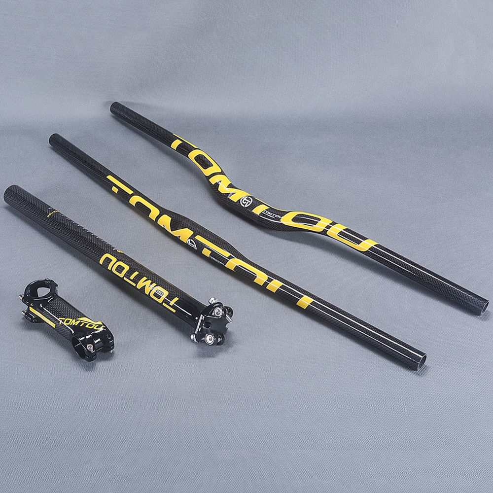 TomTou Mountain Bike Cycling Handlebar + Seatpost + Stem 3K Carbon Fiber Bicycle MTB Bar Sets Glossy Yellow TS5T37